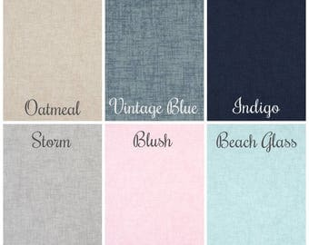 SUMMER SALE! Linen-Chambray-Look Curtains, Nursery Room Curtains, Designer Curtain Panels 24W or 50W x 63, 84, 90, 96, 108L