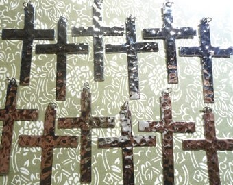 12 Silverplated 53mm Hammered Crosses