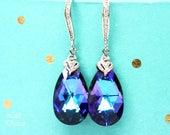 Purple Bridal Earrings Swarovski Earrings Pear Bridal Jewelry Crystal Earrings Peacock Earrings Bridesmaid Earrings Gift for Her HE32H