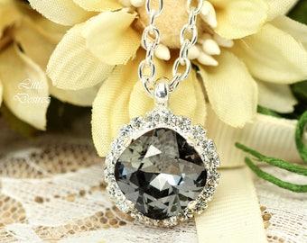 Grey Crystal Necklace Charcoal Necklace Swarovski Silver Night Necklace Bridesmaid Necklace Black Diamond Necklace Smoky Grey Necklace SN50N