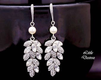 Rhinestone Bridal Earrings Leaf Rhinestone Earrings Crystal Leaf Earrings Cubic Zirconia Pearl Earrings Vintage Style Crystal Earrings MIA