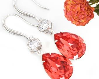 Orange Earrings Dark Peach Earrings Swarovski Padparadscha Crystal Earrings Bridesmaid Earrings Bridal Earrings Cubic Zirconia PAD31HC