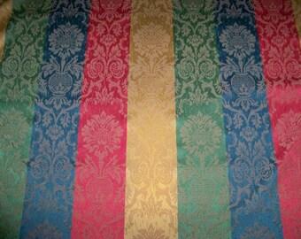 LEE JOFA KRAVET Lotus Stripes Damask Fabric 2.5 Yard Remnant Red Blue Green Gold
