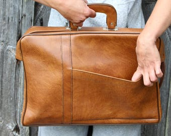 Soviet vintage briefcase Vintage leather briefcase Light brown mens briefcase Faux leather briefcase Soviet mens briefcase