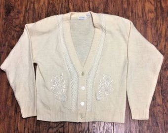 Vintage Retro 1980s 80s DD Sloane Lambswool Angora Rabbit Hair Shoulder Pads Slouchy Cardigan Sweater Womens Medium