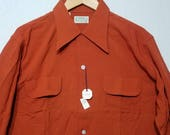 NOS / 1940s Shirt / ML / M - L / Rayon / Loop Collar / Rockabilly / 1940s Mens Fashion / 1950s Shirt / Swing / New Old Stock / Deadstock