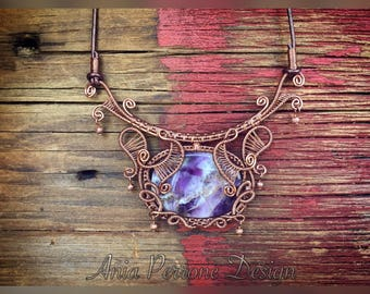 25% OFF SALE Amethyst Boho Necklace Deep Purple Antiqued Copper Wire Wrapped Bronze Leather Bib Statement