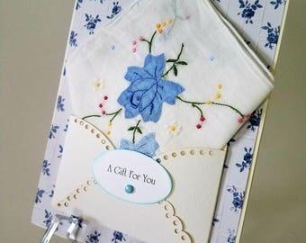 Vintage Hankie Card Embroidered Applique Blue Roses Handkerchief Mom Keepsake Gift Happy Tears Hanky