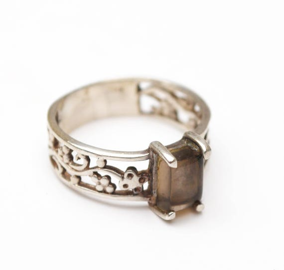 Sterling silver Ring - Orthoglaze  Gemstone -  Transparent  Brown Grey feldspar - crystal - ring size 8
