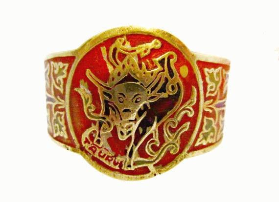 Zodiac Boho Cuff Bracelet - Taurus - Brass Enamel Bangle