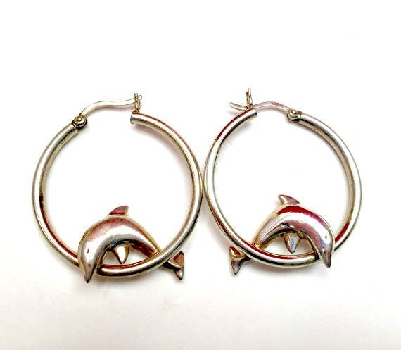 Sterling Dolphin earrings - silver Hoop - sea life - figurine - pierced earrings