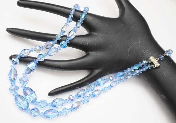 Graduated Bead Necklace - Light Blue facet cut crystal - Glass Beads  - Rhinestone clasp