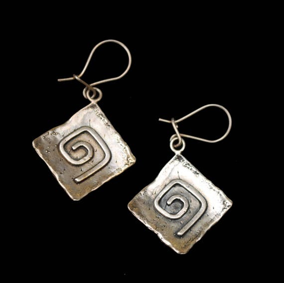 Sterling Silver Dangle Earrings - Hammer Square - modernistic swirl earring