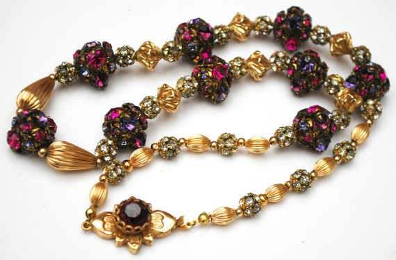 Colorful Rhinestone bead Necklace  Purple pink round crystal -  clear rondelle - gold beads  Rhinestone Floral Flower clasp - 22 inches