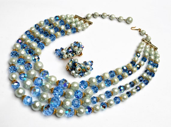 Blue  Crystal white pearl  Bead Necklace and earring set - Signed Laguna  - Aurora borealis - multi strand  - Mid century