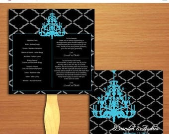 ON SALE White or Blue Chic Chandelier Formal Wedding Ceremony Program Hand Fan - Square Programs, Wood  and Paper Paddle Sign Handles for Al