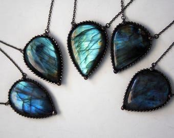 Blue Labradorite Teardrop Necklace - Medium // Blue Labradorite Statement Necklace