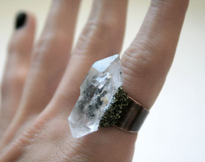 Tibetan Clear Quartz Scepter Crystal Ring // Terminated Crystal Adjustable Ring // Crystal Cluster Ring with Pyrite