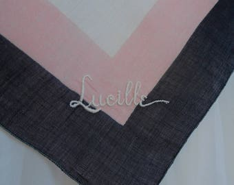 Lucille Monogram Hanky Vintage Handkerchief White Embroidery on Pink and Navy Blue Hankie, Something Old Something Blue, Gift Hanky Lucille