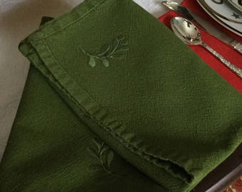 Seven Gorgeous Dark Olive Green with Floral Embroidered Design Table Napkins-Perfect