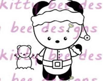 Santa Panda Digital Stamp