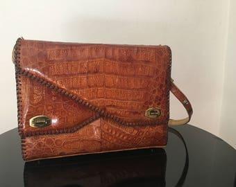 Vintage Genuine Alligator Handbag | Large Purse | Footed | Made in Florida USA