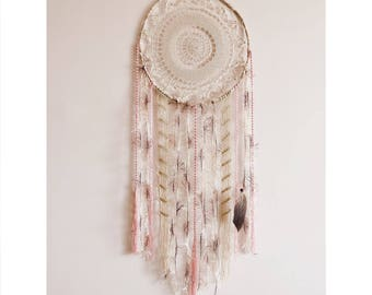 Boho dreamcatcher, macrame, wall hanging, large, dream catcher, crochet doily, wall decor, bohemian, bedroom decor, handmade, pink, brown