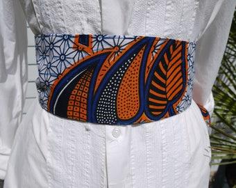 Obi sash style belt Japanese kimono in wax from Senegal - blue orange and white