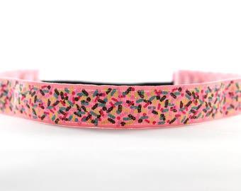 Glitter Sprinkles Nonslip Headband, Gift for Runners, Running Headband, Fitness Accessory, Donut Headband, Sprinkles of Love, Activewear