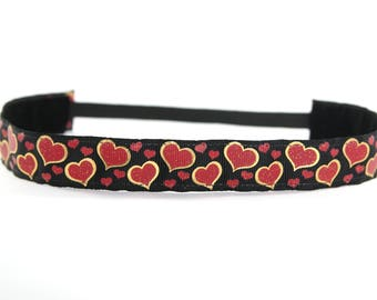 Hearts Headband, Valentine's Day Accessory, Running Accessory, Gifts for Runners, 5k Headband, Running Headband, Running Gift