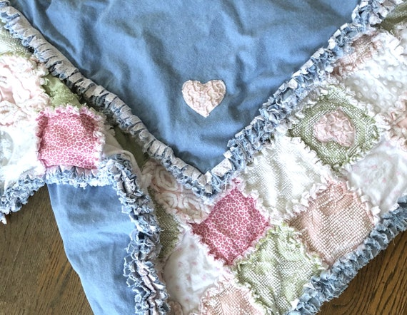 Baby Blanket,DenimBaby Blanket,VintageChenille,RecycledDenim, Pink Baby Blanket, Green Baby Blanket, White Baby Blanket, Ragged Baby Blanket