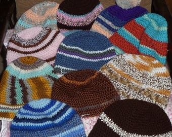 BAG OF BEANIES  Variety of patterns and colors  Set of 11 Hand crocheted Clearance Sale