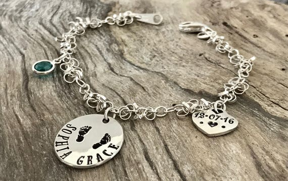 Sterling silver - New mother gift - Baby footprints Bracelet - Personalized new mom gift - Baby name