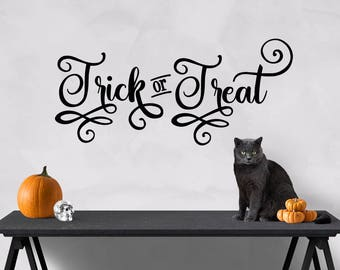 Trick or Treat Halloween Cut File - Digital Stencil Design - SVG Cutting File  - Vinyl Wall Design - Transparent PNG - Overlay
