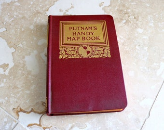 Putnam's Handy Map Book, vintage map book, 1920s map book, hardcover map book, mini book, small map book, antique book, reference book