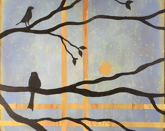 Birds On A Limb 2 Wall Art Series By Artist Rafi Perez Original Art On Gallery Wrapped Canvas 30X30