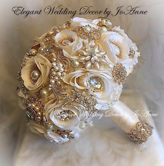 wedding bouquet pins ivory gold custom ivory and gold bridal brooch bouquet gold 8476