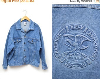 ON SALE 80s National Rifle Association Denim Jacket Men's Size Medium