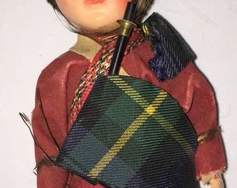 Vintage Celluloid Scottish Bagpipe Player Doll w Sleep Eyes Tartan Garb Souvenir Doll from Scotland Scottish International Doll