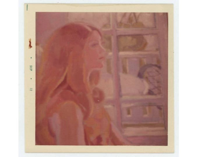 Vintage Photo Snapshot: Woman in Profile [Painting] 1972 (76589)