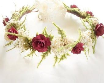 Marsala Wedding, Flower Crown, Burgundy Wedding, Burgundy Flower Crown, Floral Headdress, Boho Wedding, Head Wreath, Wedding Crown
