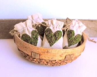 Moss Heart Favor Bags, Natural Gift Bags, Shower Favor Bags, Favor Bags Wedding, Linen Favor Bags, Baby Shower Favor Bags, Moss Wedding