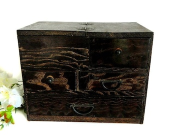 Antique Small Japanese Wooden Tansu Chest Lift Top