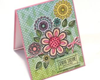 Flower Power, Doodle flower garden blank card, sending sunshine and smiles, hello, thinking of you floral card