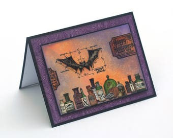 Halloween card, bats, witches potions, spells enchantment, happy Halloween blank card