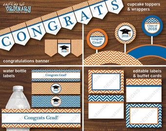 Blue and Orange Printable Graduation Decorations, 2018 Grad Party Decor Pack, INSTANT DOWNLOAD, DIY digital file
