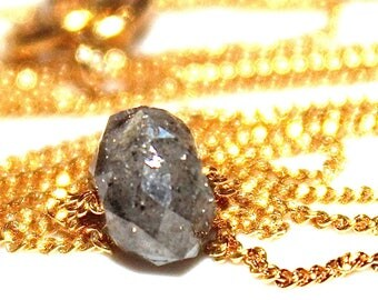 Raw Diamond Grey Diamond Nugget Necklace Raw Diamond Necklace Delicate Jewelry Real Diamond Jewelry Authentic Diamond Stacking Necklace