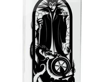 Maleficent Sleeping Beauty silhouette hand cut paper craft handmade framed wall artwork geek art