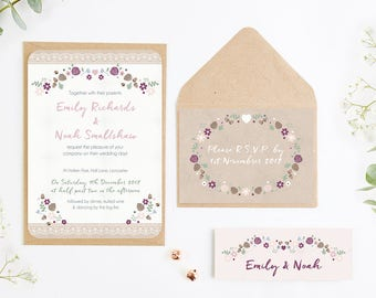 Winter Floral with Pine Cones Wedding Invitation Bundle
