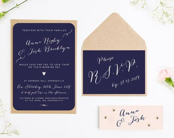 Calligraphy Collection Navy & Blush Wedding Invitation Bundle